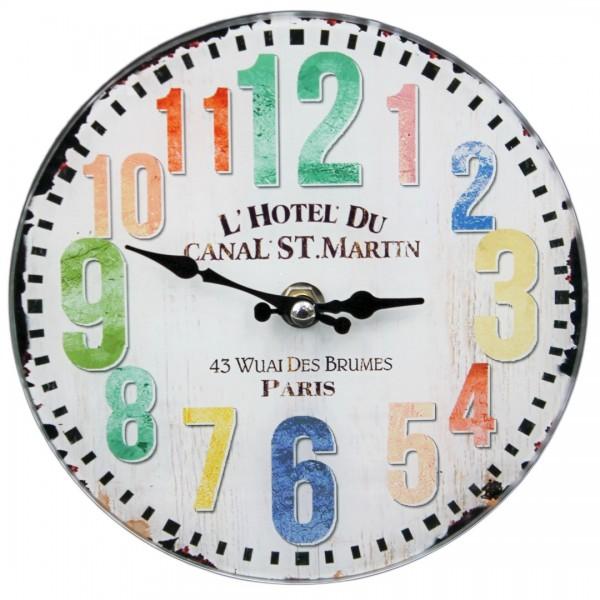 Wanduhr aus Glas zum hängen oder stellen - Shabby Look, bunte Zahlen, Hotel Paris - 17 cm - Vintage Uhr