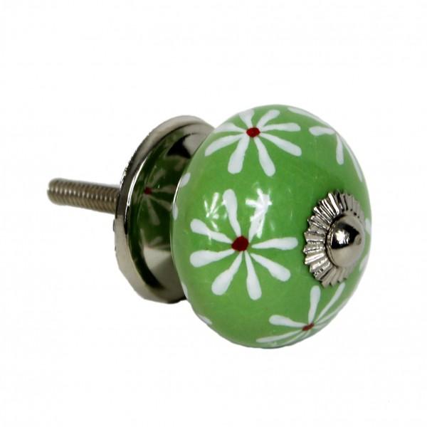 grün, Blüten, rund - Vintage Keramik Möbelknauf zum schrauben - Motiv 13