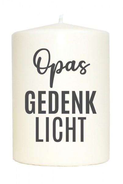 Kleine Spruchkerze weiß, Opas Gedenklicht, Aufdruck grau, 10x7cm, Trauer-Kerze Gedenk-Kerze mit Spruch Motiv-Kerze
