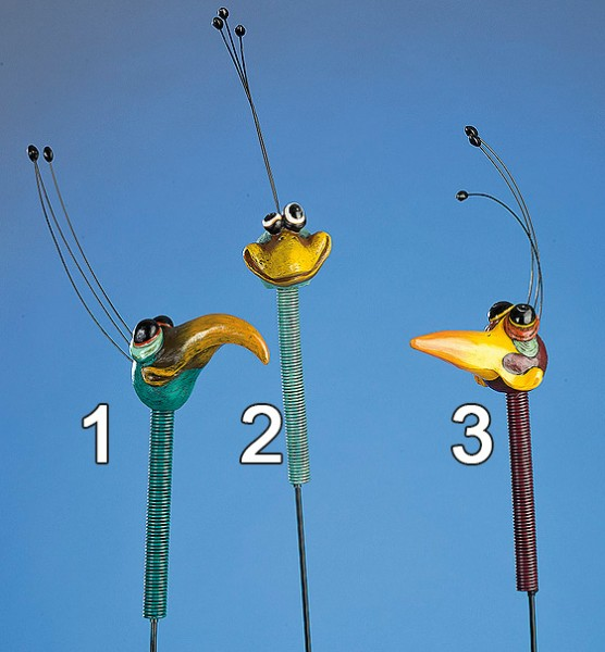 Gartenstecker - Vogel Kopf als Erdspieß mit Feder - (Figur 2) - bunt & trendig - ca 107cm hoch