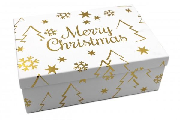 Geschenk-Box weiß GOLD, Merry Christmas mit Metallic-Effekt, 18x10,5x7cm, 279, Größe&Farbe wählbar, Weihnachten Kiste Karton aus Pappe