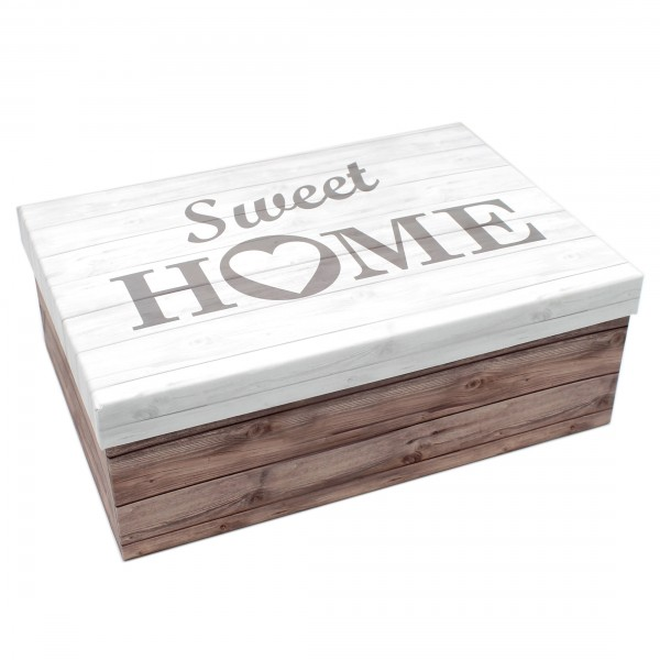 Geschenkbox ~ Sweet Home Holz-Look braun weiß grau ~ 26x18x9,5cm ~ 40798 ~ Kiste Box aus Pappe