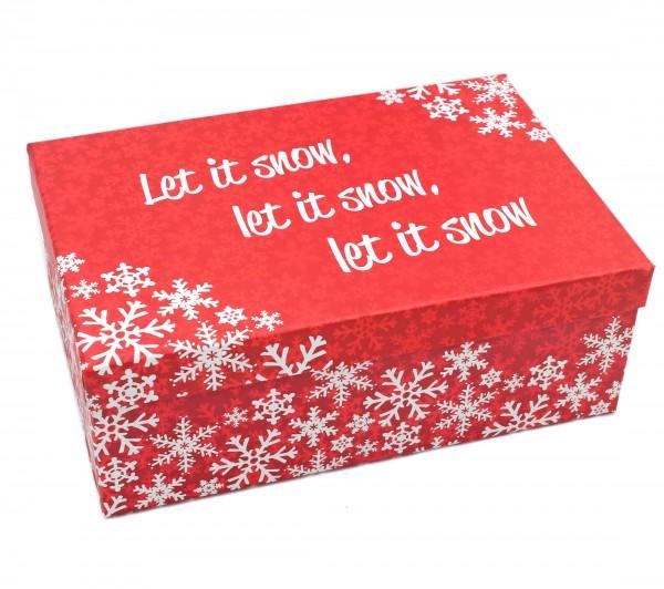 Geschenkbox, let it snow - rot weiß Weihnachten, 18x10,5x7cm, 22798, Kiste Box aus Pappe