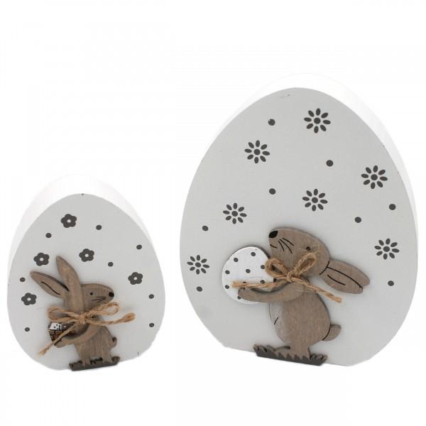 2er Set, Oster-Ei groß und klein aus Holz, Hase, zum Stellen, 14,5 cm, Deko für Ostern Frühling