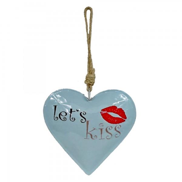 Buntes Herz zum Hängen, let's kiss, aus Metall, ca 32cm lang, türkis