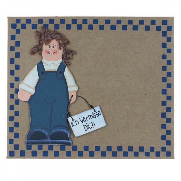 Grußkarte mit Holzfigur, Ich Vermisse Dich, Junge, mit Umschlag, Pappe 16,5 x 14 cm