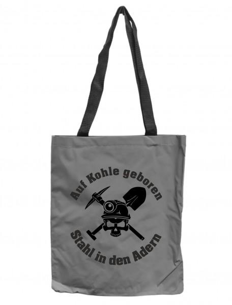 Reflektor-Tasche Ruhrpott Auf Kohle geboren Stahl in den Adern Totenkopf, grau-silber REFLEKTIERT! Einkaufs-Beutel mit Innentasche, Einkaufstasche Tragetasche Shopper Shopping-Bag