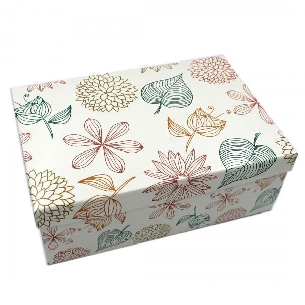 Geschenkbox ~ Blüten Blumen Ornamente / bunt ~ 23,5x15x8,5cm ~ 40792 ~ Kiste Box aus Pappe