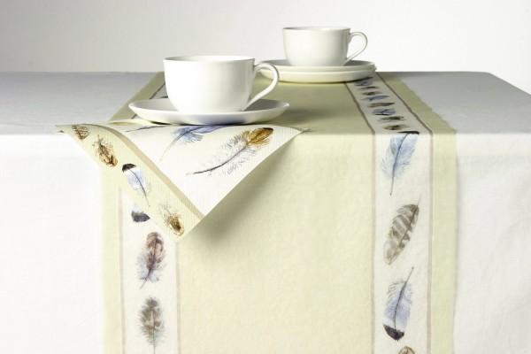 Federn und Stein Papier creme 33 cm x 6 M Tischband Tischläufer I ply