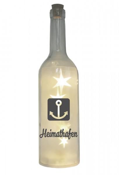 LED-Flasche mit Motiv, Heimathafen Anker, grau, 29cm, Flaschen-Licht Lampe mit Text Spruch