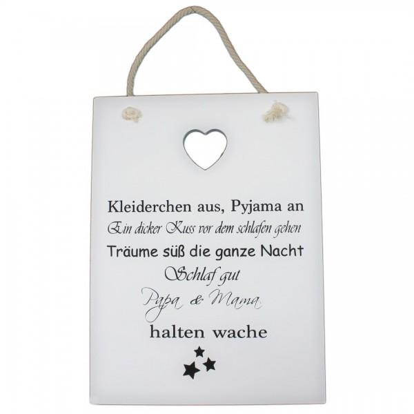 ~ Großes Schild aus Holz zum hängen, Papa & Mama halten wache, 35 x 26 cm