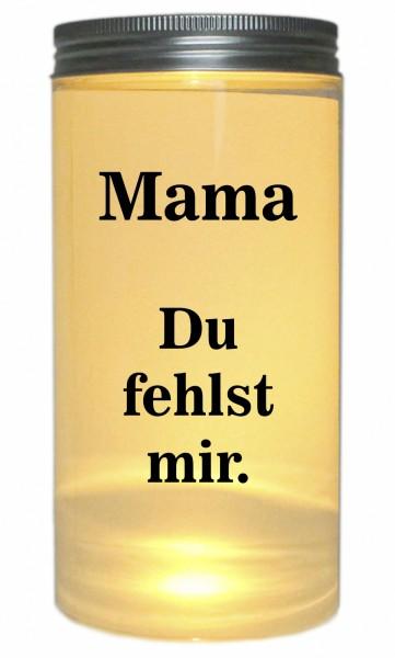 LED-Licht Mama Du fehlst mir. Trauer-Licht, 14x7cm Dose mit Deckel Leuchte LED-Lampe mit Text Spruch