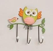 Niedlicher Wandhaken, Eule mit Vogel grün, Haken kleine Garderobe Hakenleiste