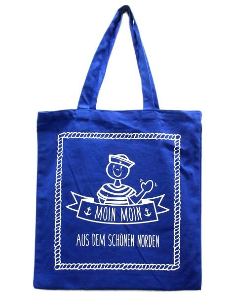Tasche Moin Moin aus dem schönen Norden, Einkaufs-Beutel blau weiß maritim