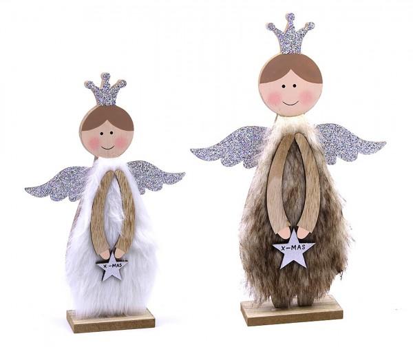 Deko-Figur Schutz-Engel aus Holz Plüsch Glitzer, braun/groß 30x20x5cm, Weihnachts-Deko Weihnachten