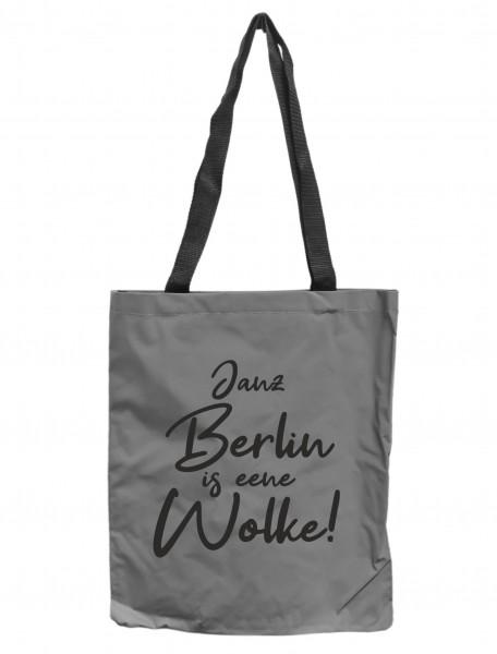 Reflektor-Tasche Janz Berlin is eene Wolke, grau-silber REFLEKTIERT! Einkaufs-Beutel mit Innentasche, Einkaufstasche Tragetasche Shopper Shopping-Bag