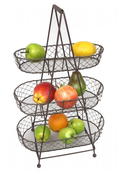 Etagere aus Metall mit 3 Körben für Obst & Gemüse - Obst-Korb Obst-Schale Shabby