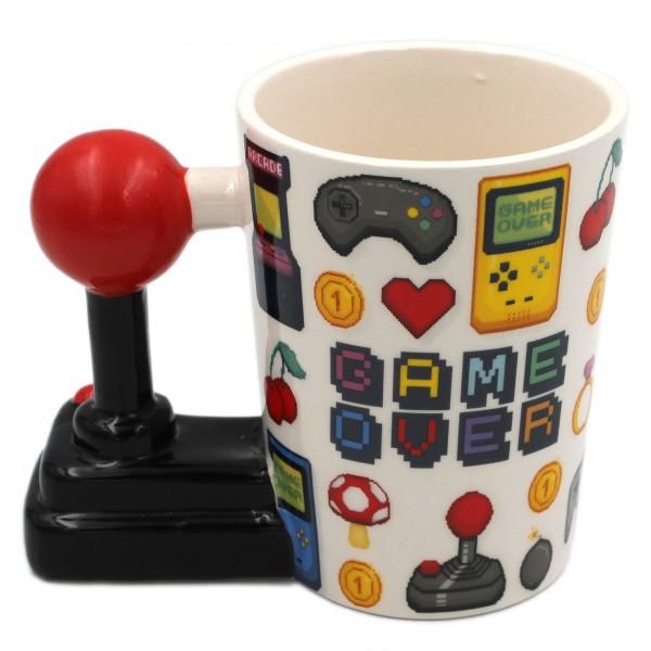 Retro-Gaming Tasse, Arcade-Spiele Controler Pixel Game Over, Joystick Gamer-Tasse