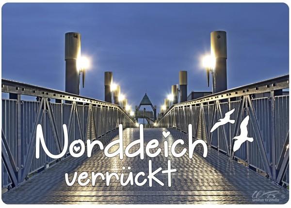 Holz-Brett, Norddeich verrückt bei Nacht Aussichts-Turm Strand, Holz-Schild Wand-Bild 21x15cm
