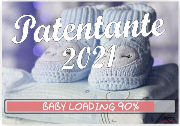 Puzzle-Botschaft eckig, Patentante 2021 / Junge blaue Baby-Schuhe, 120 Teile 27x18cm inkl. Geschenk-Beutel