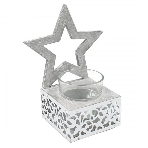 süßes Windlicht mit Stern, Aus Holz und Metall mit Glas, Landhausstil, 18 x 9 x 9 cm