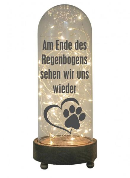 LED-Glaskuppel XXL mit Motiv, Am Ende des Regenbogens Tier Hund Katze, grau, 29cm, Glas-Licht Lampe mit Text Spruch
