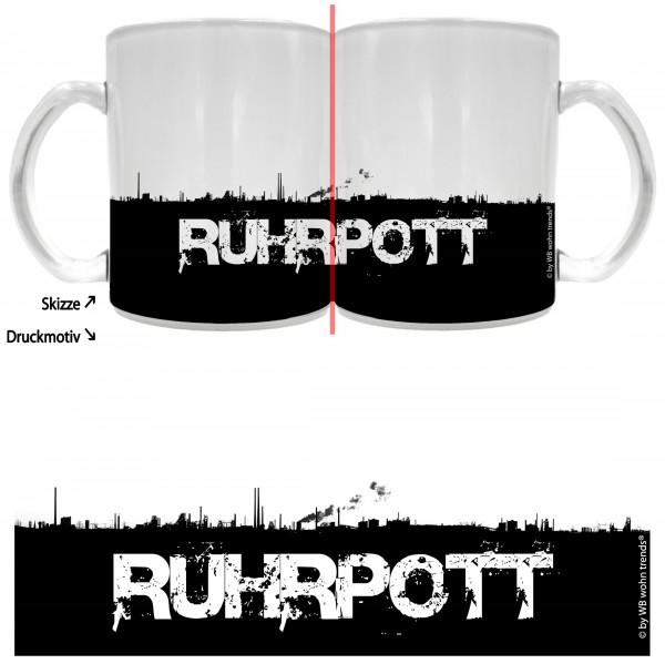 Tee-Glas mit rundum Motiv: RUHRPOTT Skyline ~ Farbe: Milchglas ~ Kaffee-Tasse mit Motiv