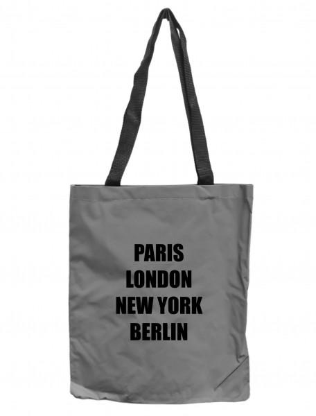 Reflektor-Tasche Berlin - Paris London New York, grau-silber REFLEKTIERT! Einkaufs-Beutel mit Innentasche, Einkaufstasche Tragetasche Shopper Shopping-Bag