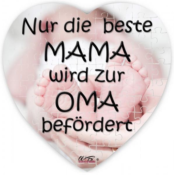 Puzzle-Botschaft Herz, Nur die beste Mama wird zur Oma befördert - Babyfüße, 75 Teile 19x19cm inkl. Geschenk-Beutel, WB wohn trends®
