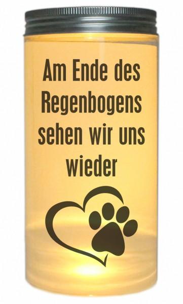 LED-Licht Am Ende des Regenbogens Tier-Pfote Hund Katze, 14x7cm Dose mit Deckel Leuchte LED-Lampe mit Text Spruch