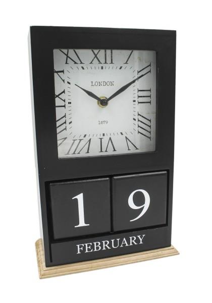 Tisch-Uhr LONDON 1879 schwarz, mit Kalender und Monatsanzeige als Würfel, aus Holz 28,5x18,5x9cm