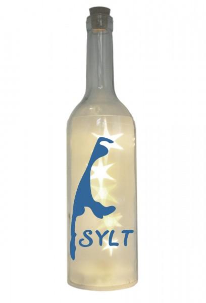 LED-Flasche mit Motiv, Insel Sylt Silhouette, blau, 29cm, Flaschen-Licht Lampe mit Text Spruch