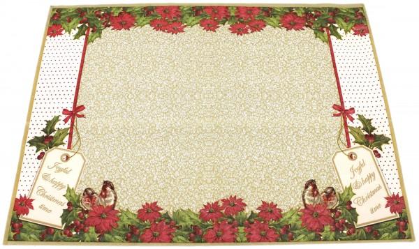 12x Tischset Platzset aus Servietten-Papier, Christmas Time gold rot grün, 40x30cm, Vogel Blume