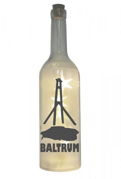 LED-Flasche mit Motiv, Insel Baltrum Silhouette, grau, 29cm, Flaschen-Licht Lampe mit Text Spruch
