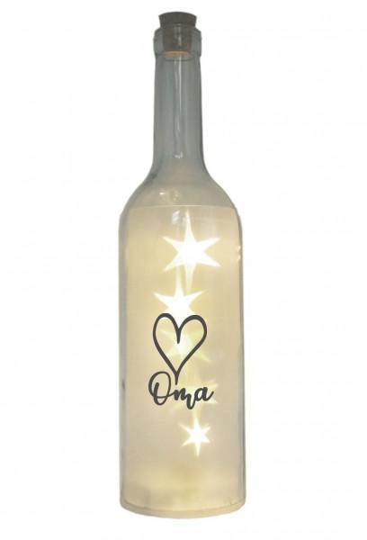 LED-Flasche mit Motiv, Herz Oma, grau, 29cm, Flaschen-Licht Lampe mit Text Spruch