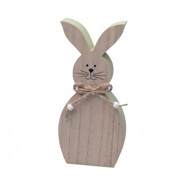 Süßer Hase aus Holz ~ grün 23cm Größe L ~ Hasen-Figur zum Stellen