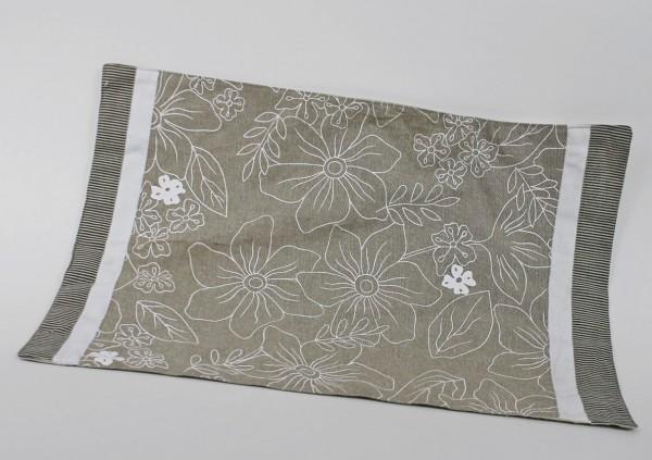 Platzset aus Stoff von GILDE - beige/weiss Blumen Dekor - 48 x 32 cm