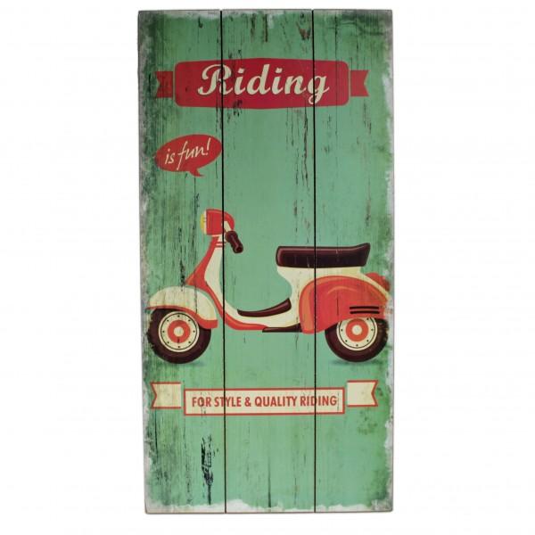 Holz-Schild für Roller-Fans ~ Riding is fun ~ Vintage Look ~ 48 x 24 x 1 cm