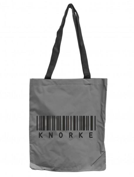 Reflektor-Tasche Knorke Barcode Berlin, grau-silber REFLEKTIERT! Einkaufs-Beutel mit Innentasche, Einkaufstasche Tragetasche Shopper Shopping-Bag