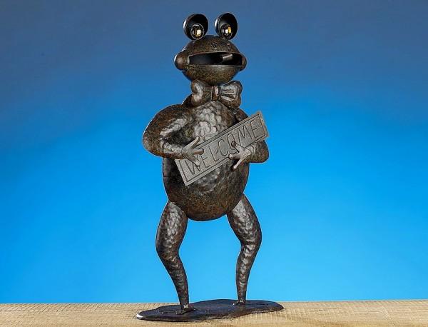 """FROSCH Figur """"Welcome"""" zum Stellen aus Metall, 45cm"""