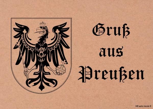 Postkarte, Gruß aus Preußen, Wappen Nostalgie-Karte Vintage Karton braun 10,5x14,8cm A6