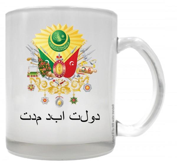 Tee-Glas mit beidseitigem Motiv ~ Wappen Osmanisches Reich Der ewige Staat ~ Farbe: Milchglas ~ Kaffee-Tasse mit Motiv