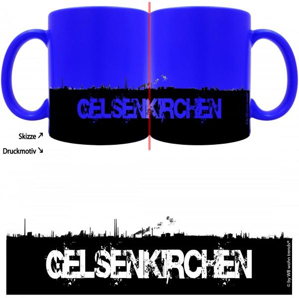 knallige Tasse mit rundum Motiv: GELSENKIRCHEN Skyline ~ Farbe: neon-blau ~ Kaffee-Becher mit Motiv