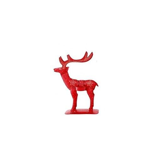 Teelichthalter Rentier Rot h 26,5 cm, Teelichthalter für 2 Teelichter