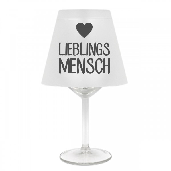 Lampenschirm für Weinglas, Lieblings-Mensch mit Herz, grau, Schirm ohne Glas, Windlicht