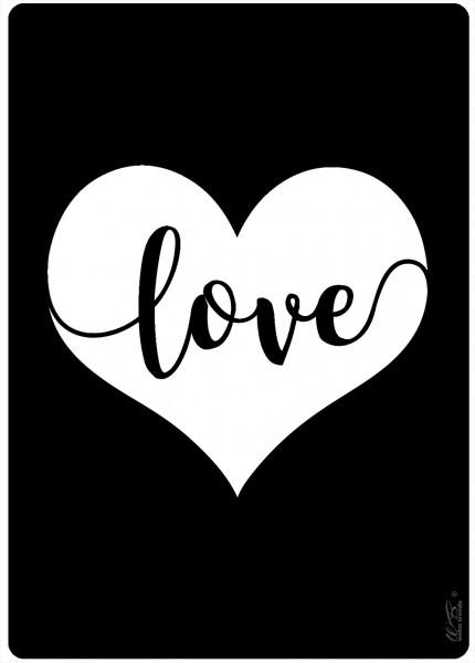 Holz-Postkarte, Love Liebe Herz schwarz weiß, Kreidetafel-Optik Holz-Schild Wand-Bild Deko-Schild 15x10cm