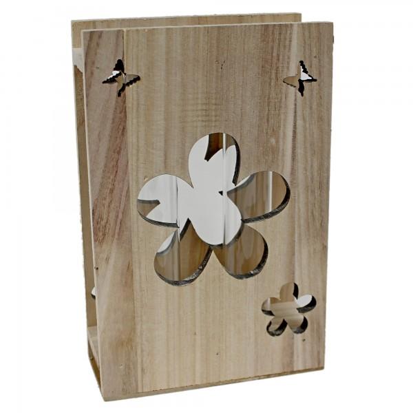 Holzständer mit 2 Reagenzgläsern als Vase ~ aus Holz Natur ~ 22cm ~ Blüten Schmetterling