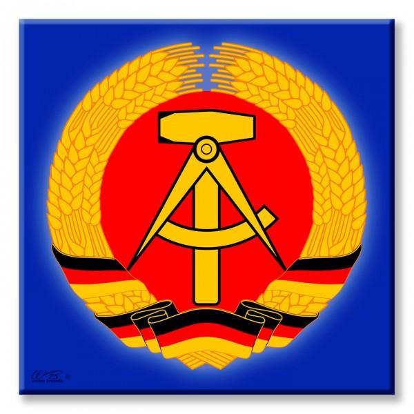 Deko-Fliese, Wappen Logo DDR Deutsche Demokratische Republik Ostalgie, Foto-Fliese Wand-Bild Deko-Schild 15x15cm