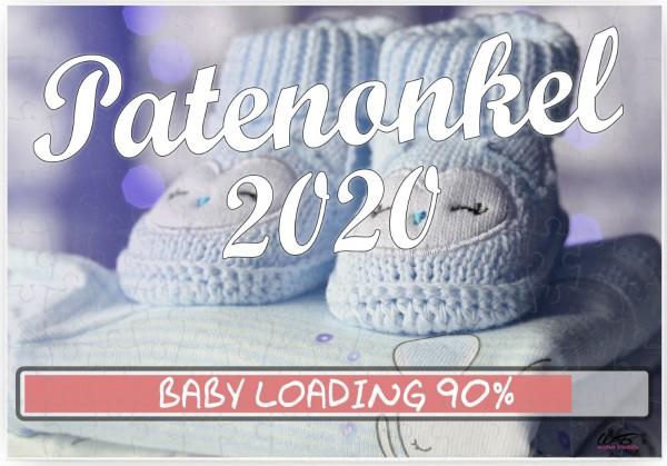 Puzzle-Botschaft eckig, Patenonkel 2020 / Junge blaue Baby-Schuhe, 120 Teile 27x18cm inkl. Geschenk-Beutel