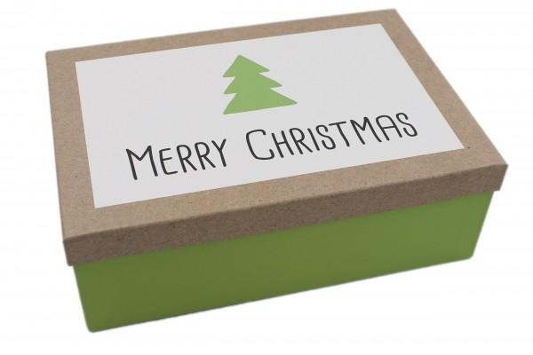Geschenk-Box Merry Christmas grün weiss, 26x18x9,5cm, 257, Größe&Farbe wählbar, Weihnachten Kiste Karton aus Pappe